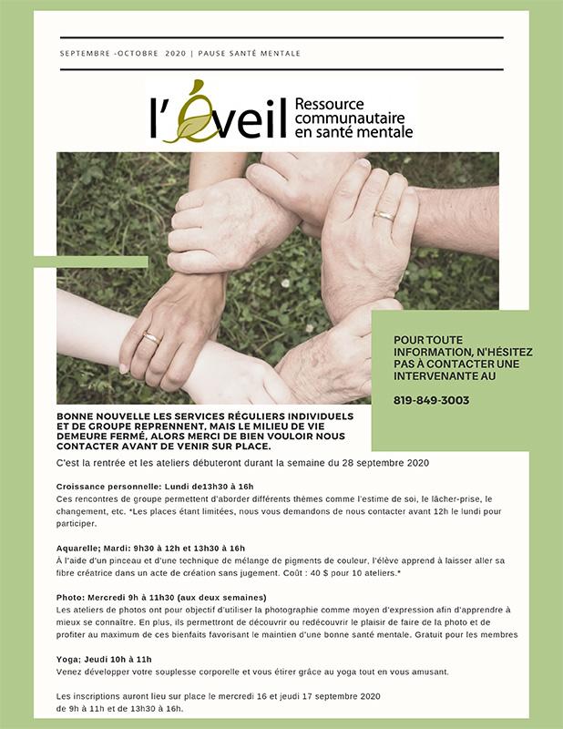 Journal Pause Santé Mentale Septembre-Octobre 2020 - L'Éveil, ressource communautaire en santé mentale de la MRC de Coaticook